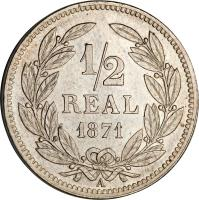 reverse of 1/2 Real (1869 - 1871) coin with KM# 32 from Honduras. Inscription: 1/2 REAL 1869