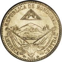 obverse of 1/4 Real (1869 - 1870) coin with KM# 31 from Honduras. Inscription: REPUBLICA DE HONDURAS AMERICA CENTRAL