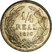 reverse of 1/4 Real (1869 - 1870) coin with KM# 31 from Honduras. Inscription: 1/4 REAL 1869