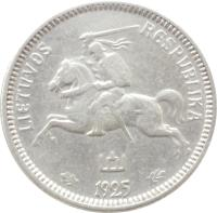 obverse of 1 Litas (1925) coin with KM# 76 from Lithuania. Inscription: LIETUVOS RESPUBLIKA 1925