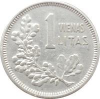 reverse of 1 Litas (1925) coin with KM# 76 from Lithuania. Inscription: 1 VIENAS LITAS