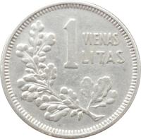 reverse of 1 Litas (1925) coin with KM# 76 from Lithuania. Inscription: 1 VIENAS LITAS