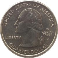 obverse of 1/4 Dollar - Hawaii - Washington Quarter (2008) coin with KM# 425 from United States. Inscription: UNITED STATES OF AMERICA LIBERTY D IN GOD WE TRUST QUARTER DOLLAR