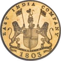 obverse of 10 Cash (1803) coin with KM# 319c from India. Inscription: EAST INDIA COMPANY 1803