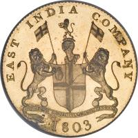 obverse of 20 Cash (1803) coin with KM# 321c from India. Inscription: EAST INDIA COMPANY 1803