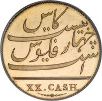 reverse of 20 Cash (1803) coin with KM# 321c from India. Inscription: XX. CASH.