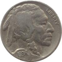 obverse of 5 Cents - Buffalo Nickel; Flat ground (1913 - 1938) coin with KM# 134 from United States. Inscription: LIBERTY 1936 F