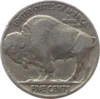 reverse of 5 Cents - Buffalo Nickel; Flat ground (1913 - 1938) coin with KM# 134 from United States. Inscription: UNITED · STATES · OF · AMERICA E PLURIBUS UNUM FIVE CENTS