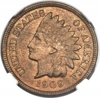obverse of 1 Cent - Indian Head Cent (1864 - 1964) coin with KM# 90a from United States. Inscription: UNITED STATES OF AMERICA LIBERTY 1909