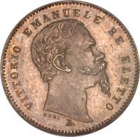 obverse of 1 Lira - Vittorio Emanuele I (1859 - 1860) coin with KM# 9 from Italian States. Inscription: VITTORIO EMANUELE RE ELETTO