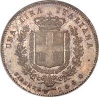 reverse of 1 Lira - Vittorio Emanuele I (1859 - 1860) coin with KM# 9 from Italian States. Inscription: UNA LIRA ITALIANA · FIRENZE 1860 ·