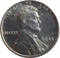 obverse of 1 Cent - Steel Cent (1943 - 1944) coin with KM# 132a from United States. Inscription: IN GOD WE TRUST LIBERTY 1943 D