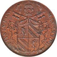obverse of 1 Baiocco - Pius IX (1846 - 1849) coin with KM# 1339 from Italian States. Inscription: PIVS · IX · PON · MAX · ANNO · I ·