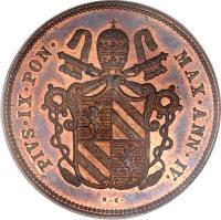 obverse of 2 Baiocchi - Pius IX (1850 - 1854) coin with KM# 1344 from Italian States. Inscription: PIVS · IX · PON · MAX · ANN · IV ·