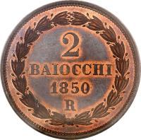 reverse of 2 Baiocchi - Pius IX (1850 - 1854) coin with KM# 1344 from Italian States. Inscription: 2 BAIOCCHI 1850 R
