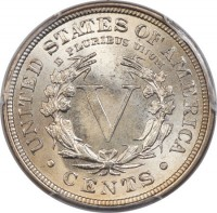 reverse of 5 Cents - Liberty Nickel; With CENTS (1883 - 1913) coin with KM# 112 from United States. Inscription: UNITED STATES OF AMERICA E PLURIBUS UNUM V · CENTS ·