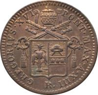 obverse of 1 Quattrino - Gregory XVI (1835 - 1844) coin with KM# 1318 from Italian States. Inscription: GREGORIVS.XVI / PONT.MAX.A.XIII R.
