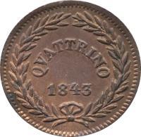 reverse of 1 Quattrino - Gregory XVI (1835 - 1844) coin with KM# 1318 from Italian States. Inscription: QUATTRINO // 1843