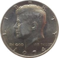 obverse of 1/2 Dollar - Kennedy Half Dollar (1971 - 2017) coin with KM# 202b from United States. Inscription: LIBERTY IN GOD WE TRUST P 1974