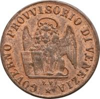 obverse of 1 Centesimo (1849) coin with KM# 807 from Italian States. Inscription: GOVERNO PROVVISORIO DI VENEZIA *