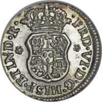 obverse of 1/2 Real - Fernando VI (1747 - 1760) coin with KM# 67.1 from Mexico. Inscription: · FRD · VI · D · G · HISP · ET IND · R ·