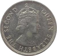 obverse of 25 Cents - Elizabeth II - 1'st Portrait (1974 - 2015) coin with KM# 36 from Belize. Inscription: QUEEN ELIZABETH THE SECOND