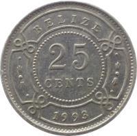 reverse of 25 Cents - Elizabeth II - 1'st Portrait (1974 - 2015) coin with KM# 36 from Belize. Inscription: BELIZE 2003 25 CENTS