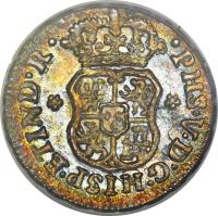 obverse of 1/2 Real - Felipe V (1742 - 1747) coin with KM# 66 from Mexico.