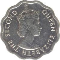 obverse of 1 Cent - Elizabeth II - 1'st Portrait (1976 - 2012) coin with KM# 33a from Belize. Inscription: QUEEN ELIZABETH THE SECOND