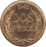 reverse of 2 Pesos (1919 - 1948) coin with KM# 461 from Mexico. Inscription: 1945 / DOS PESOS / M