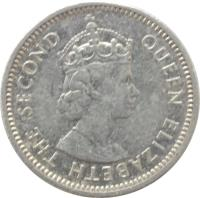 obverse of 5 Cents - Elizabeth II - 1'st Portrait (1976 - 2009) coin with KM# 34a from Belize. Inscription: QUEEN ELIZABETH THE SECOND
