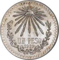 reverse of 1 Peso (1918 - 1919) coin with KM# 454 from Mexico. Inscription: LIBERTAD M UN PESO 1919