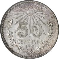 reverse of 50 Centavos - Smaller (1918 - 1919) coin with KM# 446 from Mexico. Inscription: 50 CENTAVOS 1919