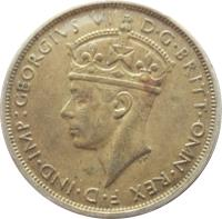 obverse of 2 Shillings - George VI (1938 - 1947) coin with KM# 24 from British West Africa. Inscription: :GEORGIVS VI D · G · BRITT · OMN · REX F · D · IND · IMP