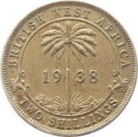 reverse of 2 Shillings - George VI (1938 - 1947) coin with KM# 24 from British West Africa. Inscription: BRITISH WEST AFRICA . 19 38 . H TWO SHILLINGS