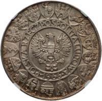 obverse of 100 Złotych - Polish Millennium (1966) coin with Y# 57 from Poland. Inscription: POLSKA RZECZPOSPOLITA LUDOWA 1966