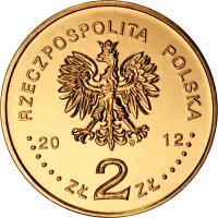 obverse of 2 Złote - UEFA European Football Championship (2012) coin with Y# 823 from Poland. Inscription: RZECPOSPOLITA POLSKA 20 12 ZŁ 2 ZŁ