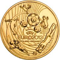 reverse of 2 Złote - UEFA European Football Championship (2012) coin with Y# 823 from Poland.