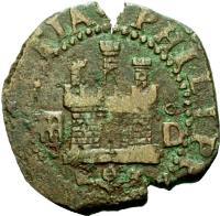 obverse of 2 Maravedis - Felipe II - Latin legend (1580 - 1655) coin from Spain. Inscription: * PHILIPPVS : II : DEI : GRATIA *