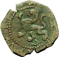 reverse of 2 Maravedis - Felipe II - Latin legend (1580 - 1655) coin from Spain. Inscription: * HISPANIARVM : REX *