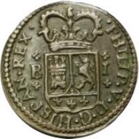 obverse of 1 Maravedi - Felipe V (1718 - 1720) coin with KM# 301 from Spain. Inscription: · PHILIP · V · D · C · HISPAN · REX · R I