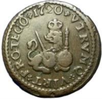 reverse of 1 Maravedi - Felipe V (1718 - 1720) coin with KM# 301 from Spain. Inscription: VTRVMQ+VTRT+PROTEGO+1720+