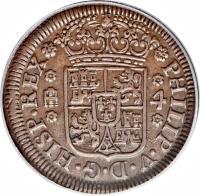 obverse of 4 Maravedis - Felipe V (1741 - 1744) coin with KM# 365 from Spain. Inscription: PHILIP · V · D · G · HISP · REX 4