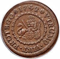 reverse of 4 Maravedis - Felipe V (1741 - 1744) coin with KM# 365 from Spain. Inscription: VTRUNQ+VIRT+PROTEGO+1742+