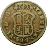 obverse of 1 Ardite - Fernando VI - Crosses and stripes (1754 - 1755) coin from Spain. Inscription: FERDINANDUS · VI · D · G ·
