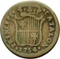 reverse of 1 Ardite - Fernando VI - Crosses and stripes (1754 - 1755) coin from Spain. Inscription: · PRINCEPS · · CATALON · 1754