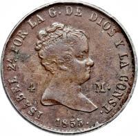 obverse of 4 Maravedis - Isabel II (1837 - 1855) coin with KM# 530 from Spain. Inscription: ISABEL 2 POR LA G-DE DIOS Y LA CONST 4 M. -1846-