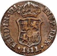 obverse of 3 Quartos - Fernando VII (1810 - 1814) coin with KM# 115 from Spain. Inscription: * FERDIN · VII HISP REX · * 1813.