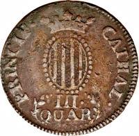 reverse of 3 Quartos - Fernando VII (1810 - 1814) coin with KM# 115 from Spain. Inscription: PRINCIP · CATHAL · III · QUAR