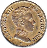 obverse of 1 Centimo - Alfonso XIII - 4'th Portrait (1906) coin with KM# 726 from Spain. Inscription: ALFONSO XIII POR LA G. DE DIOS